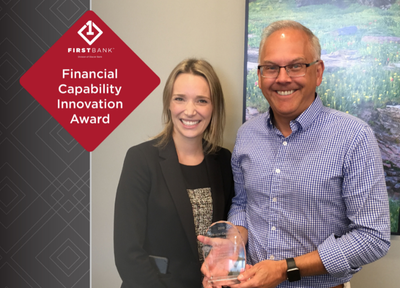 Ty Nelson, First Bank President and Heather Hicks, EverFi Rep with Financial Capability Award